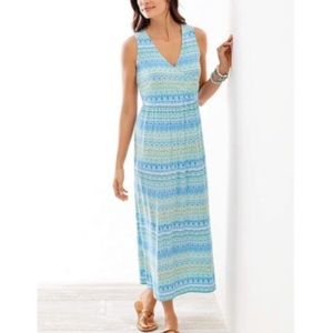 J. Jill V-neck Knit Aegean Island Print Maxi Dress